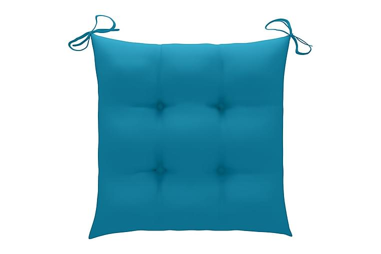 Hynder til havestole 6 stk. 40x40x7 cm stof blå - Blå - Havemøbler - Hynder - Siddehynder
