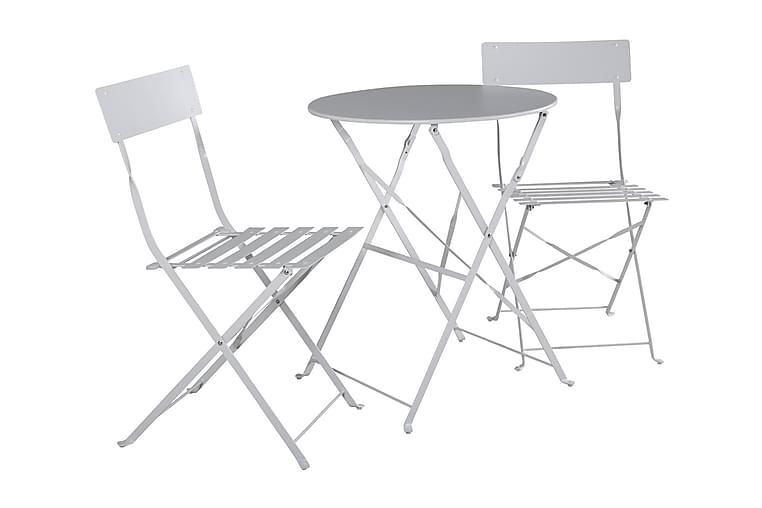 Malaga Cafésæt 60 cm + 2 Klapstole - Hvid - Havemøbler - Havesæt - Cafesæt