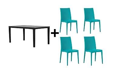 Agadir Spisebordssæt 160 + 4 Nadia Stol