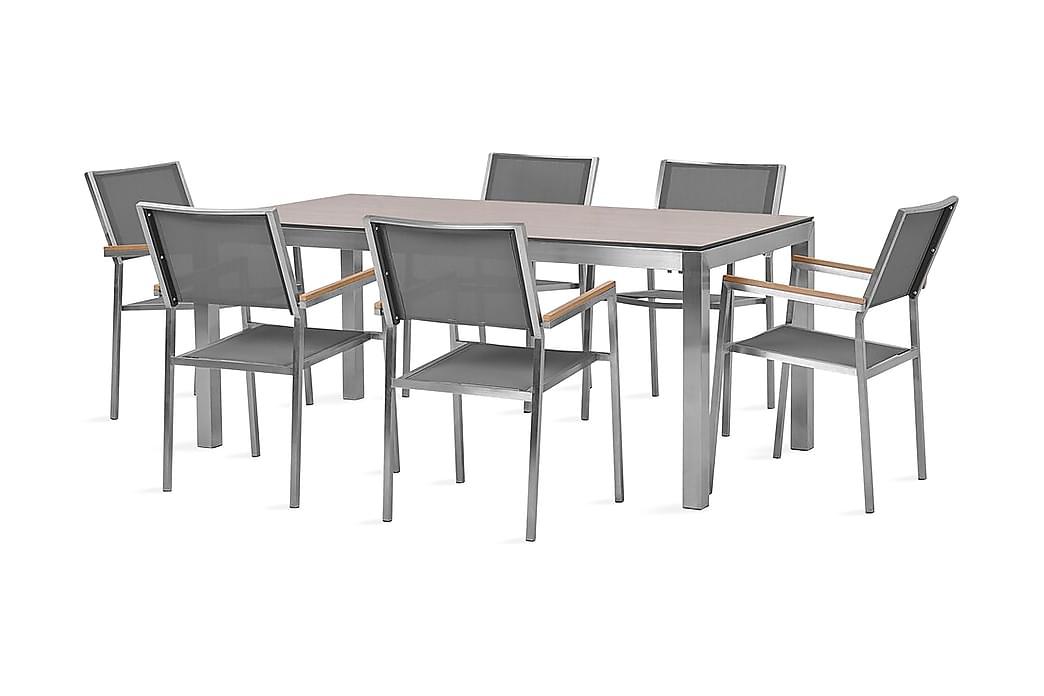 Bacoli Spisebordssæt 180 cm + 6 Stole - Brun/Grå - Havemøbler - Havesæt - Komplette havesæt