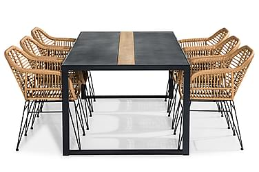 Bastian Spisebordssæt 200x100 + 6 Larnaca Stol