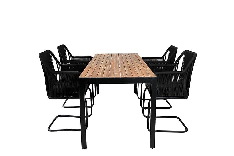 Bounce Spisebordssæt 200 cm + 4 Linero Armstole - Natur/Sort/Grå - Havemøbler - Havesæt - Komplette havesæt