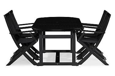 Dalarö Spisebordssæt 150-200x72 Oval + 4 Klapstol m Armlæn