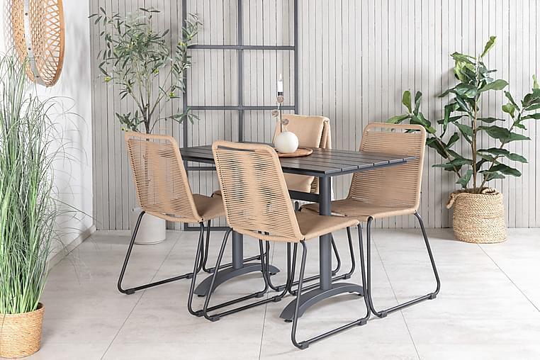 Denver Spisebordssæt 120 cm + 4 Linero Stabelstole - Sort/Brun - Havemøbler - Havesæt - Komplette havesæt
