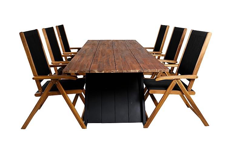 Domino Spisebordssæt 250 cm + 6 Johnny Positionsstole - Sort/Akacie - Havemøbler - Havesæt - Komplette havesæt
