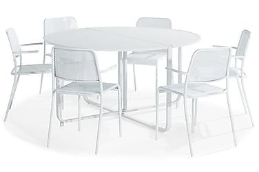 Flippy Spisebordssæt 140 Rund + 6 Logan Stol med Armlæn