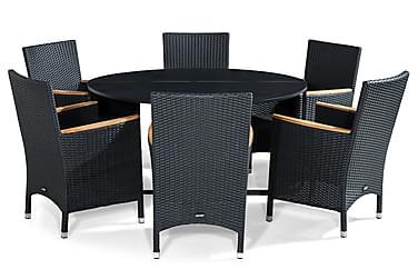 Flippy Spisebordssæt 140 Rund + 6 Thor Lyx Lænestol m Armlæn