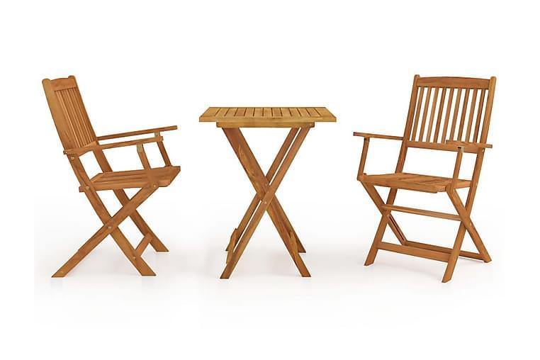 Foldbart spisebordssæt til haven 3 dele massivt akacietræ - Brun - Havemøbler - Havesæt - Komplette havesæt
