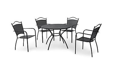 Hillerstorp Glimminge Cafésæt 100 Rund + 4 Stole i smedejern