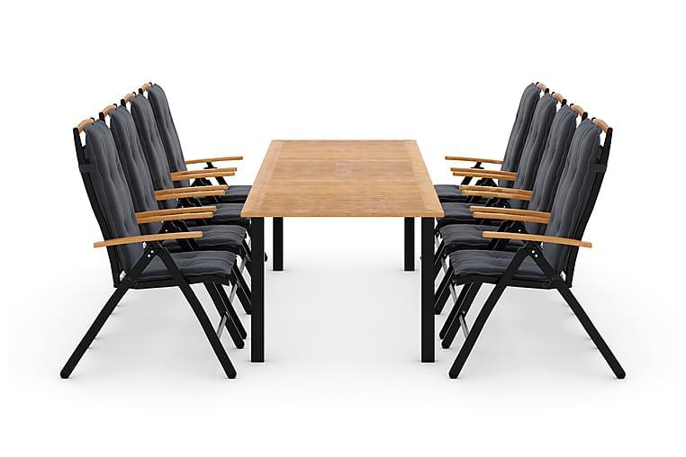 Las Vegas Havesæt 220-280 + 8 Positionsstole Lyx m Hynde - Sort/Teak/Grå - Havemøbler - Havesæt - Komplette havesæt