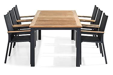 Las Vegas Spisebordsæt 220-280x100 + 6 Stabelstole