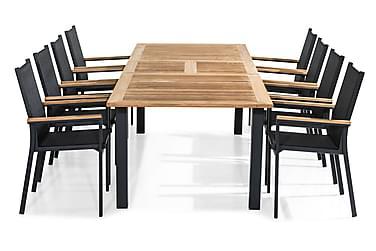 Las Vegas Spisebordsæt 220-280x100 + 8 Stabelstole m