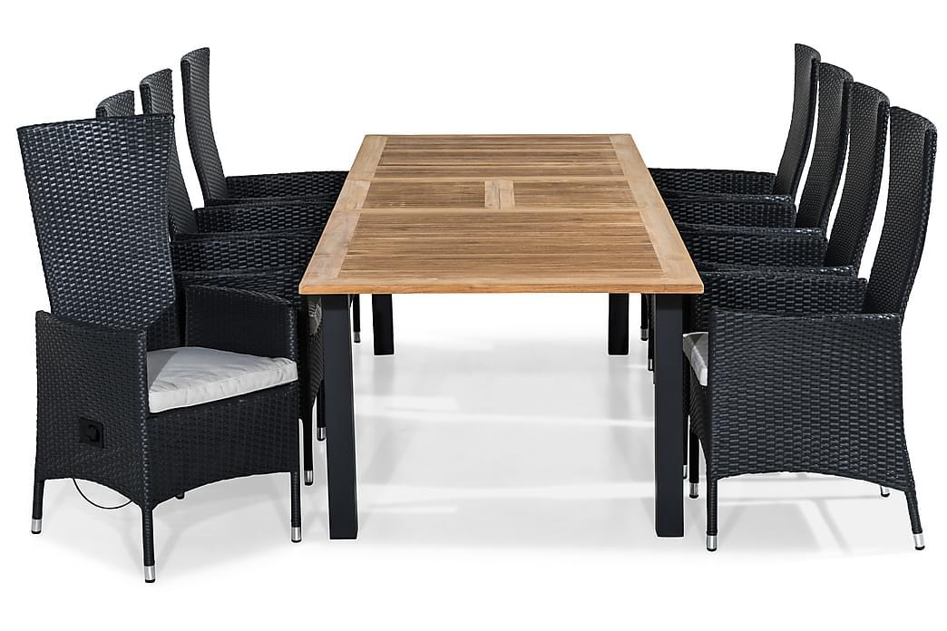 Las Vegas Spisebordssæt 220-280x100+ 8 Jenny Lænestol m. Hyn - Sort/Teak/Hvid - Havemøbler - Havesæt - Komplette havesæt