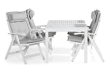 Lidö Spisebordssæt 150x90 + 4 Positionsstole m Hynde