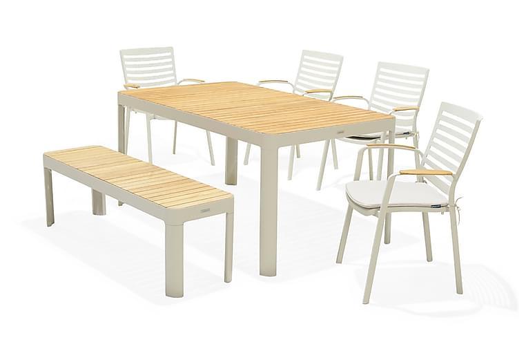 Portals Spisebordssæt 161 cm + 4 stole + bænk - Hvid / træ - Havemøbler - Havesæt - Komplette havesæt