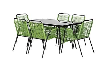 RIBSTON Bord 140 + 6 stolar Grøn