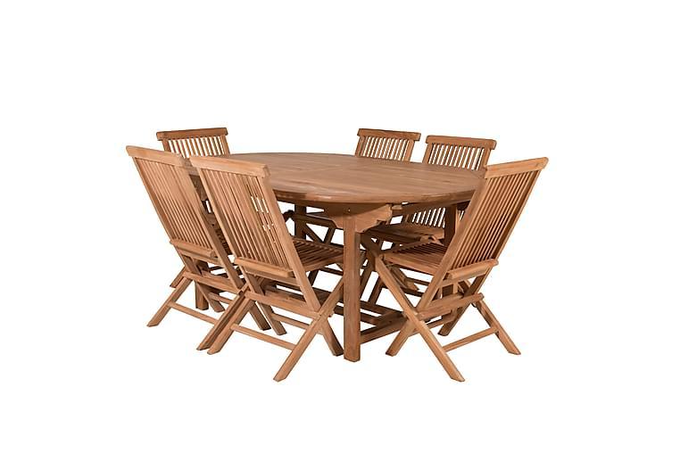 Simba Ovalt Spisebordssæt inkl 6 Spisebordsstole - Natur - Havemøbler - Havesæt - Komplette havesæt