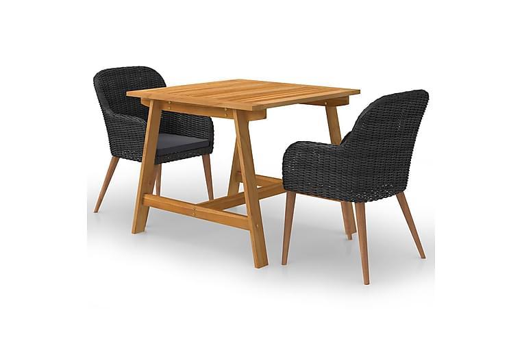 spisebordssæt til haven 3 dele sort - Sort - Havemøbler - Havesæt - Komplette havesæt