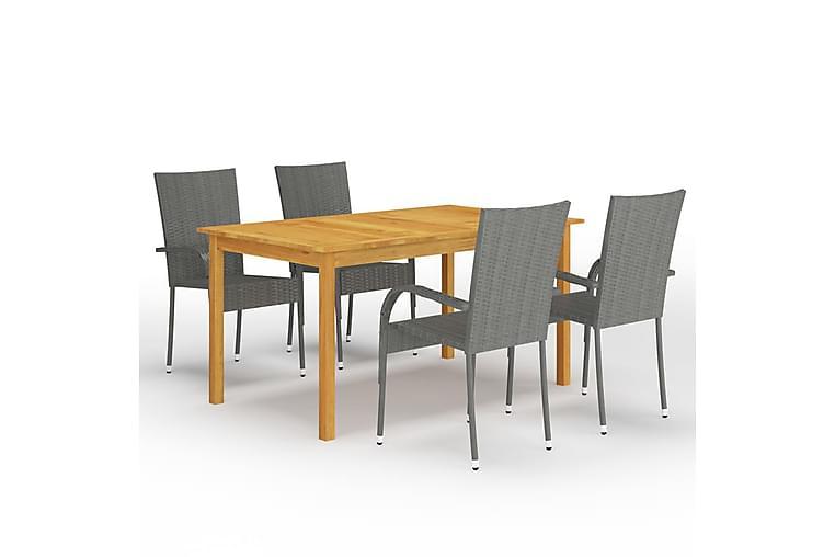 Spisebordssæt Til Haven 5 Dele Grå - Grå - Havemøbler - Havesæt - Komplette havesæt