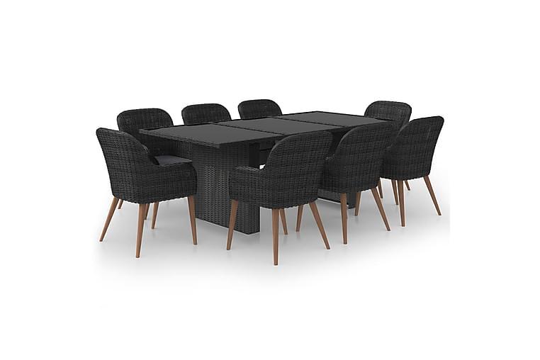 spisebordssæt til haven 9 dele polyrattan sort - Sort - Havemøbler - Havesæt - Komplette havesæt