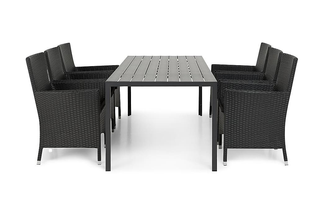 Tunis Havesæt 205 + 6 Thor Lyx Lænestole - Sort/Sort - Havemøbler - Havesæt - Komplette havesæt