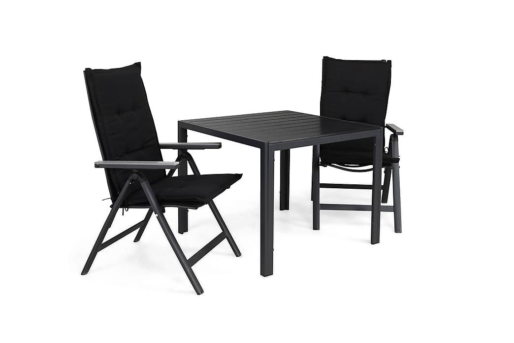 Tunis Havesæt 90x90 + 2 Monaco Light Positionsstol m. Hynde - Sort/Grå - Havemøbler - Havesæt - Komplette havesæt