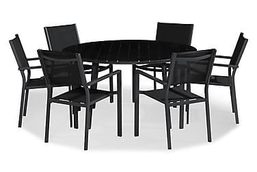 Tunis Spisebordssæt 140 Rund + 6 Stabelstole