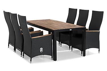 Tunis Spisebordssæt 205x90 + 6 Jenny Lyx Justerbar Lænestol