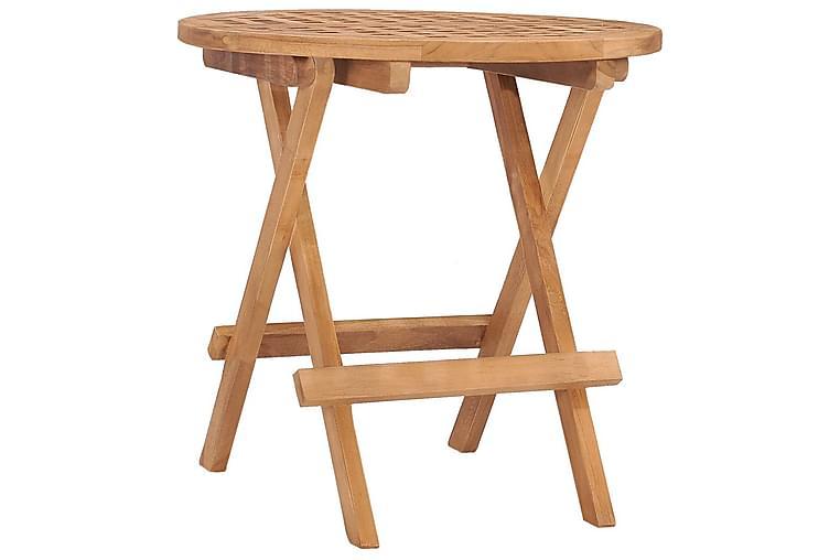 udendørs spisebordssæt 3 dele + hynde foldbart teaktræ - Havemøbler - Havesæt - Komplette havesæt