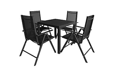 Udendørs Spisebordssæt 5 Dele Aluminium Wpc Sort