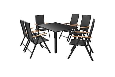 Udendørs Spisebordssæt 7 Dele Polyrattan Sort