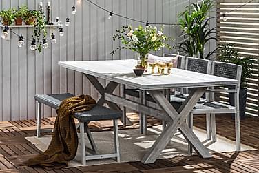 Visby Matgrupp 200x100 + 3 stole + bænk