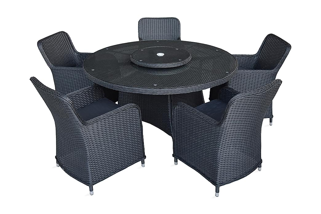 Zunga Spisebordssæt 150 cm Rundt + 5 Stole - Sort - Havemøbler - Havesæt - Komplette havesæt