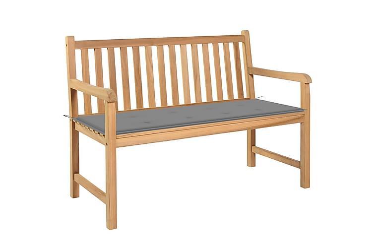 Havebænk Med Grå Hynde 120 cm massivt teaktræ - Havemøbler - Havesofaer & bænke - Bænke