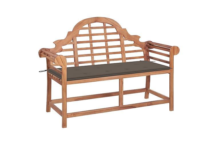 Havebænk Med Gråbrun Hynde 120 cm massivt teaktræ - Gråbrun - Havemøbler - Havesofaer & bænke - Bænke