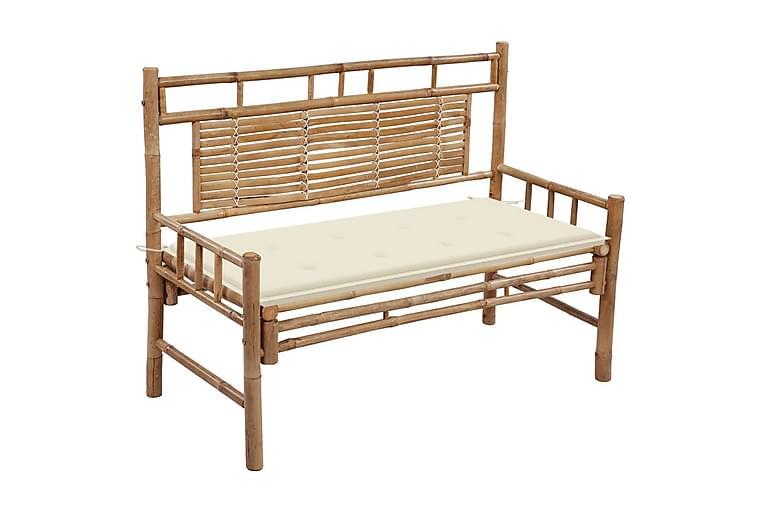 havebænk med hynde 120 cm bambus - Brun - Havemøbler - Havesofaer & bænke - Bænke