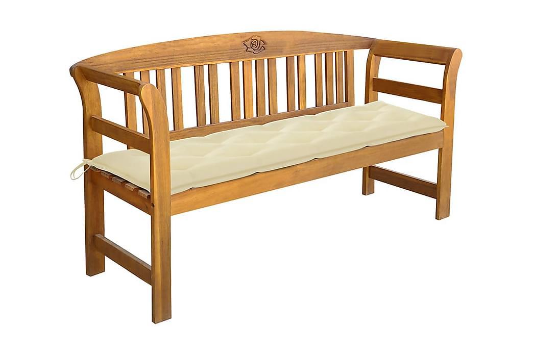 Havebænk Med Hynde 157 cm massivt Akacietræ - Brun - Havemøbler - Havesofaer & bænke - Bænke
