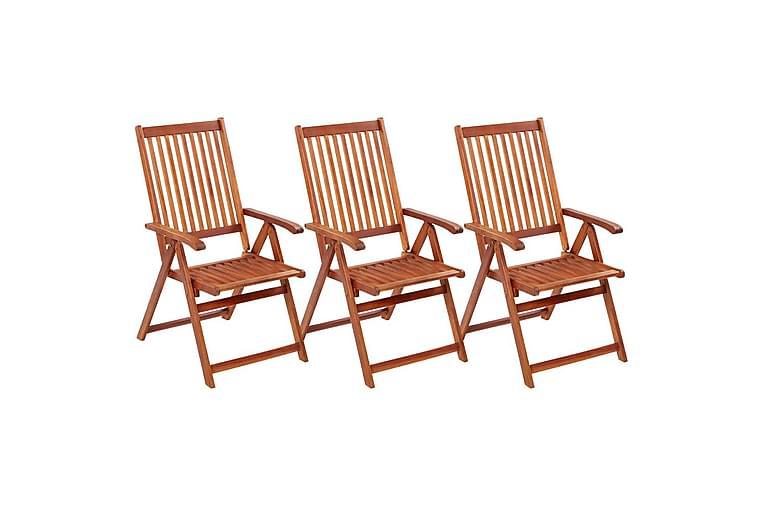 foldbare havestole 3 stk. massivt akacietræ - Brun - Havemøbler - Stole & lænestole - Caféstole