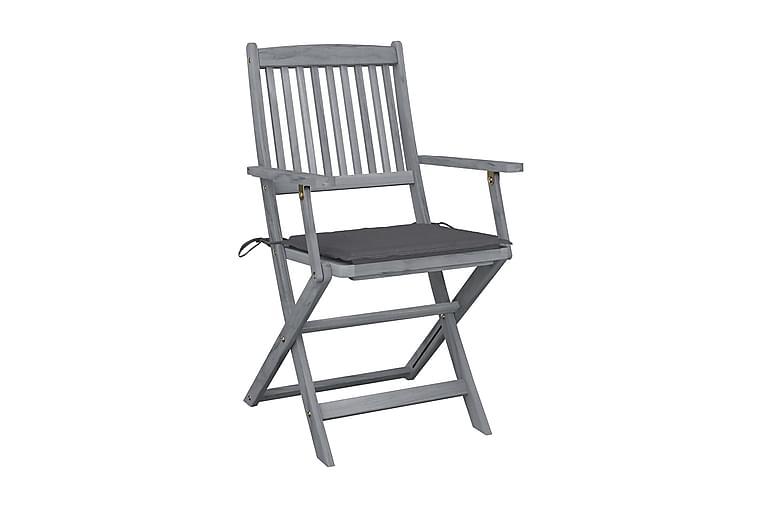 Foldbare udendørsstole 6 stk. med hynder massivt akacietræ - Havemøbler - Stole & lænestole - Caféstole