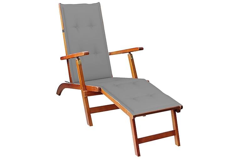havestol med fodstøtte og hynde massivt akacietræ - Brun - Havemøbler - Stole & lænestole - Lænestole