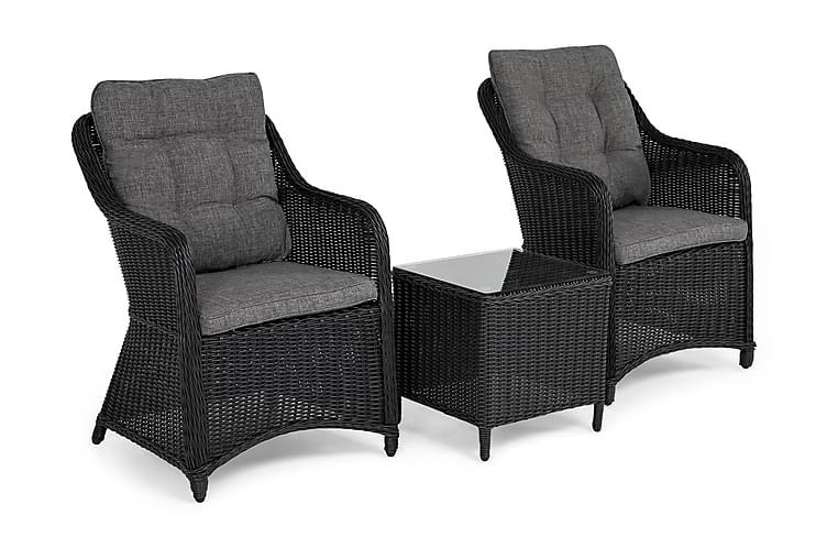 Marcus Cafésæt med 2 Lænestole m Hynde - Sort - Havemøbler - Stole & lænestole - Lænestole