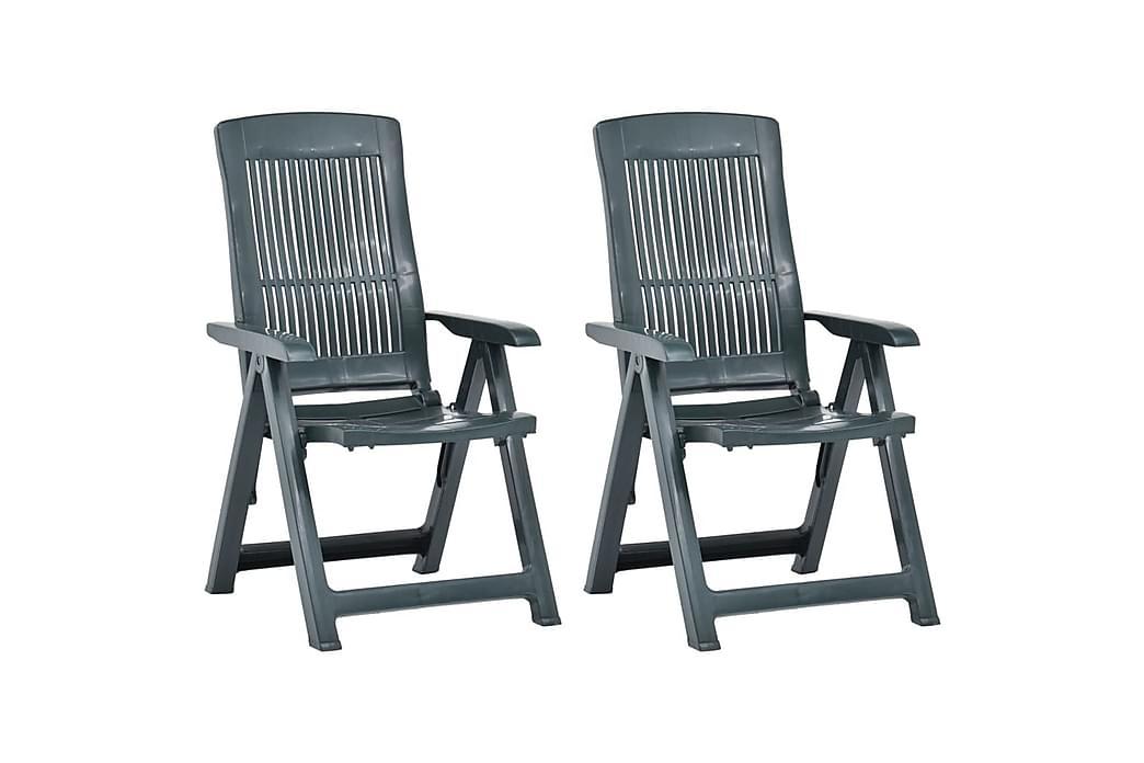 havelænestole 2 stk. plastik grøn - Grøn - Havemøbler - Stole & lænestole - Positionsstole