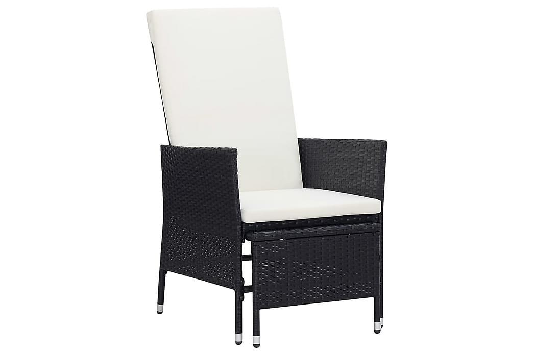Lænestol til haven med hynder polyrattan sort - Sort - Havemøbler - Stole & lænestole - Positionsstole