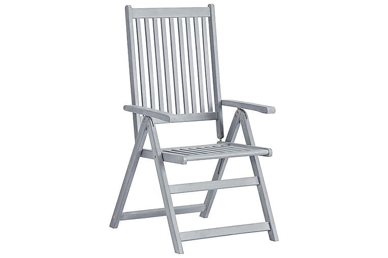 Lænestole Til Haven 2 Stk. Med Hynder massivt Akacietræ - Grå - Havemøbler - Stole & lænestole - Positionsstole