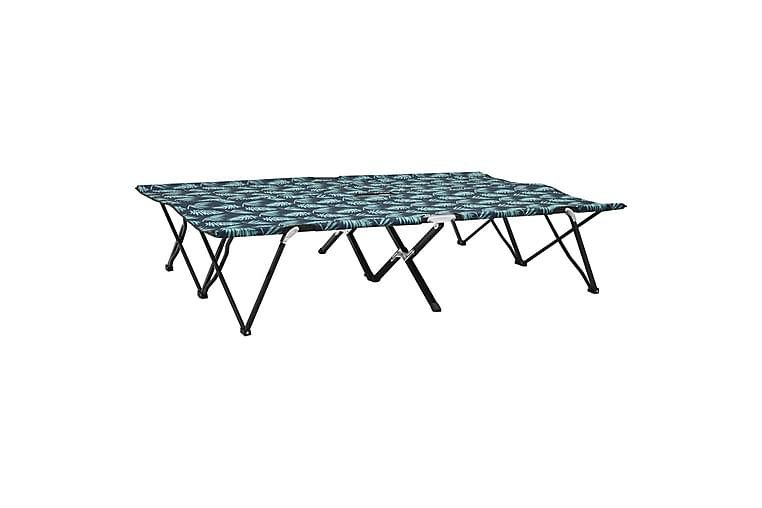 2-personers liggestol foldbar stål bladmønster - Grøn - Havemøbler - Stole & lænestole - Solseng & solvogn