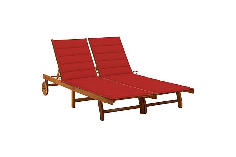 2-personers liggestol med hynder massivt akacietræ - Grå - Havemøbler - Stole & lænestole - Solseng & solvogn