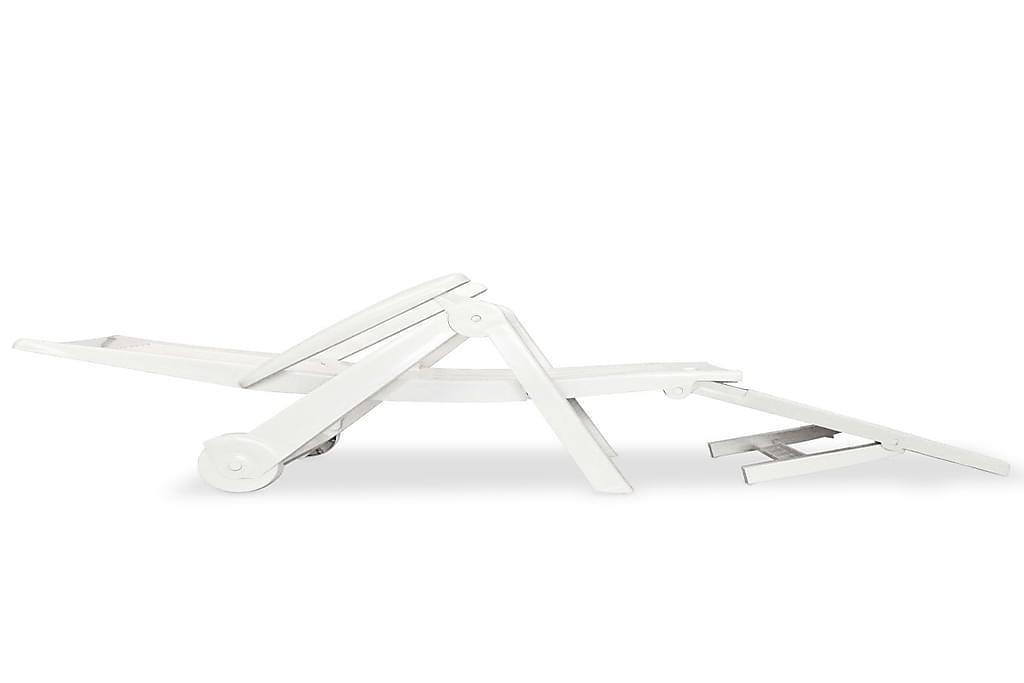 Solseng Med Fodstøtte Plastik Hvid - Hvid - Havemøbler - Stole & lænestole - Solseng & solvogn