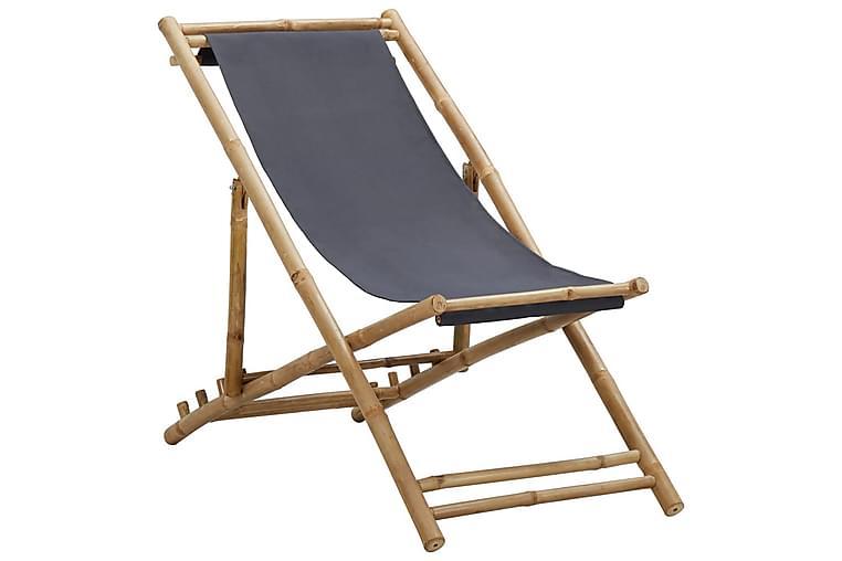 Liggestol bambus og lærred mørkegrå - Grå - Havemøbler - Stole & lænestole - Solstole