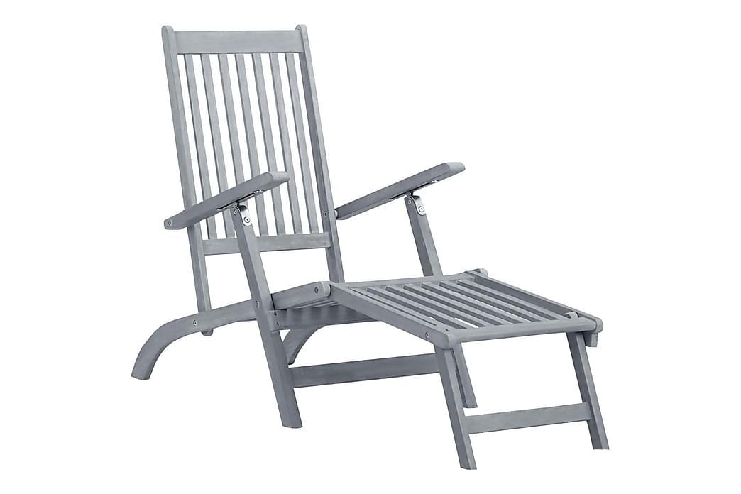 Liggestol Med Fodstøtte og Hynde massivt Akacietræ - Grå - Havemøbler - Stole & lænestole - Solstole