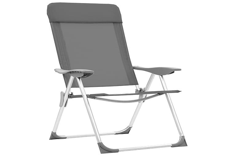 Foldbare Campingstole 2 Stk. Aluminium Grå - Grå - Sport & fritid - Camping & vandring - Friluftsudstyr
